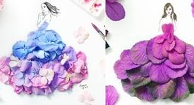 Артистка създава рокли с цветя